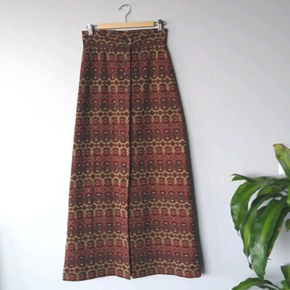 Vintage Act III Patterned Maxi Skirt 1960s 1970s